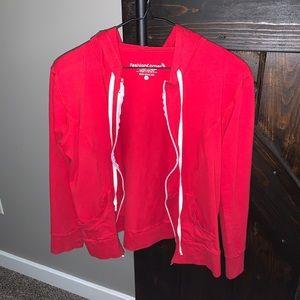 Red zip up jacket